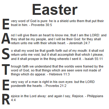 Easter Scriptures Acrostic Blessings For Easter In The