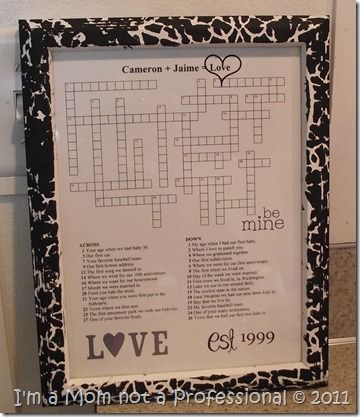 Crossword Puzzle Love A Gift For Valentine S Day Anniversary Or