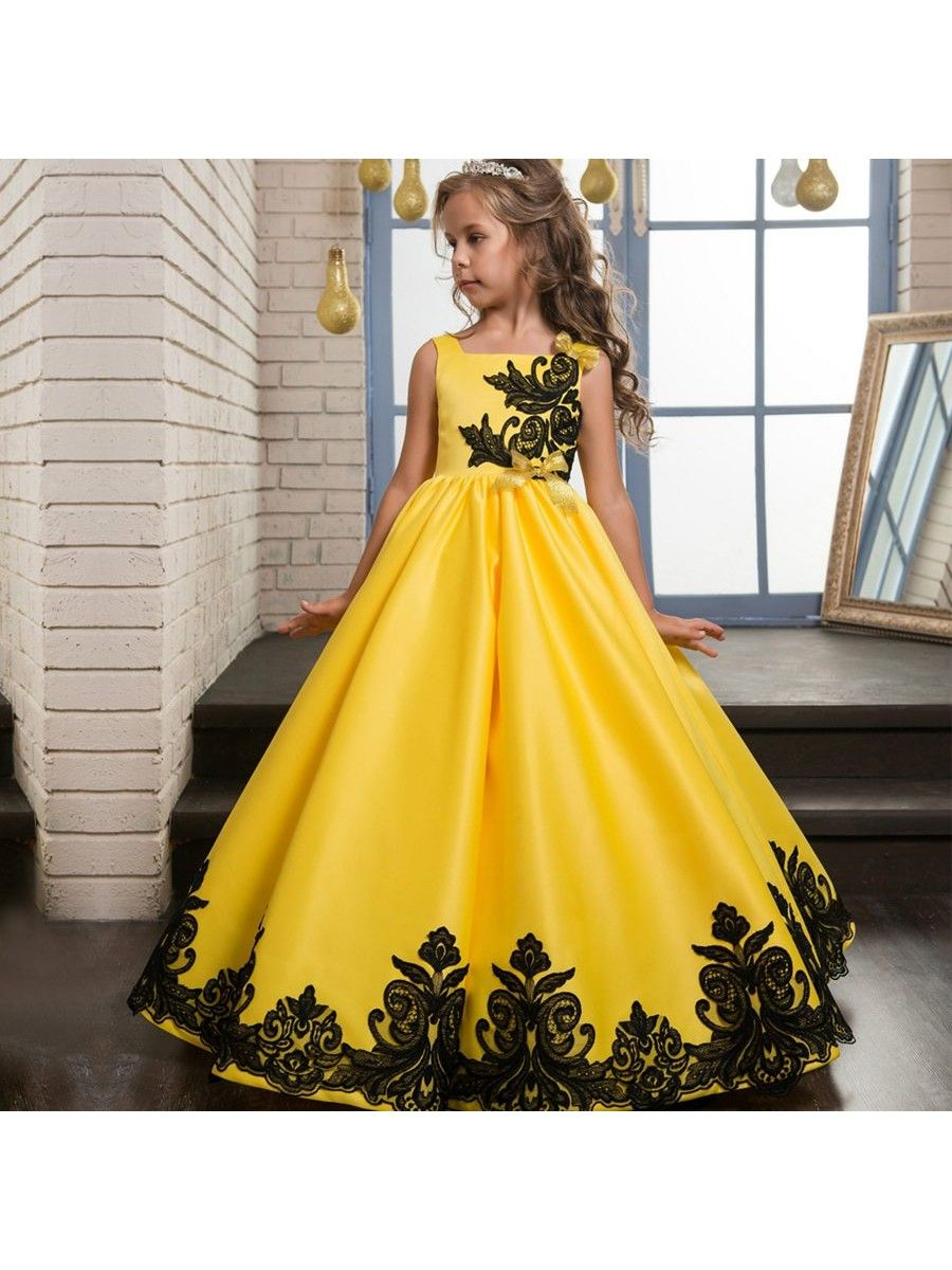 Black lace yellow ball gown flower girl dresses flower