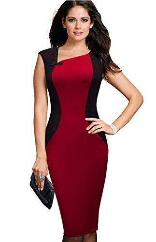 418595acd2c9 Merope J Womens Contrast Color V Neck Slimming Cocktail Party DressXXLRed *  Visit the image link more details. (Note:Amazon affiliate link)