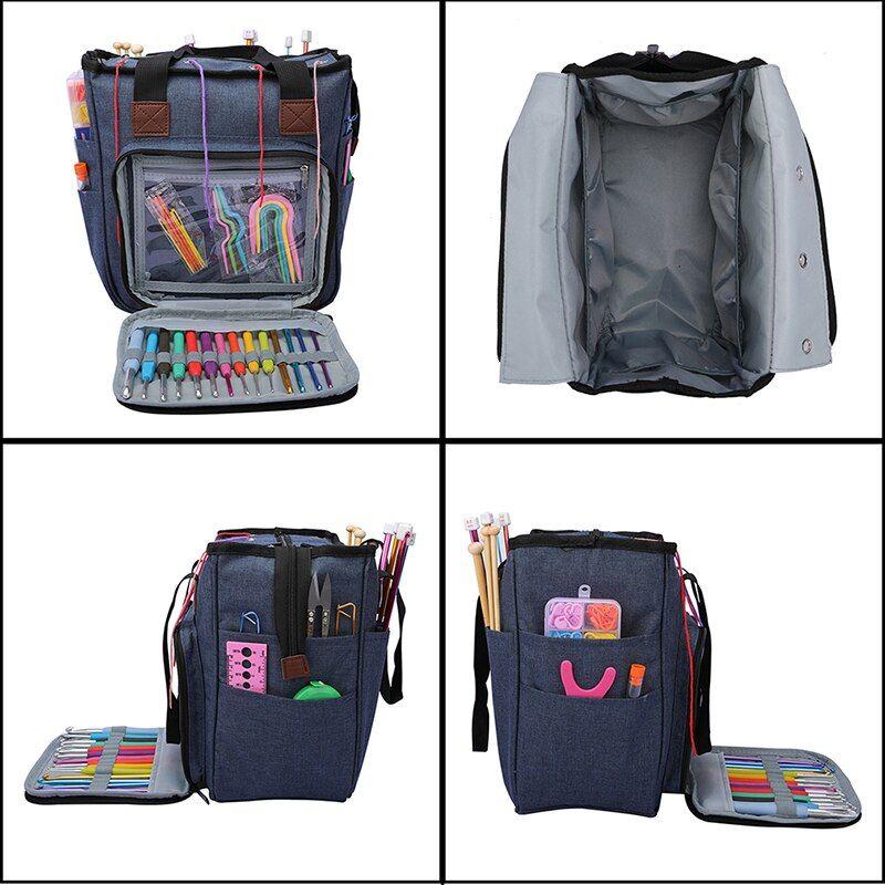 Knitting Bag Portable Yarn Tote Storage Bag for Wool Crochet Hooks Knitting Needles Sewing Supplies Set DIY Household Organizer