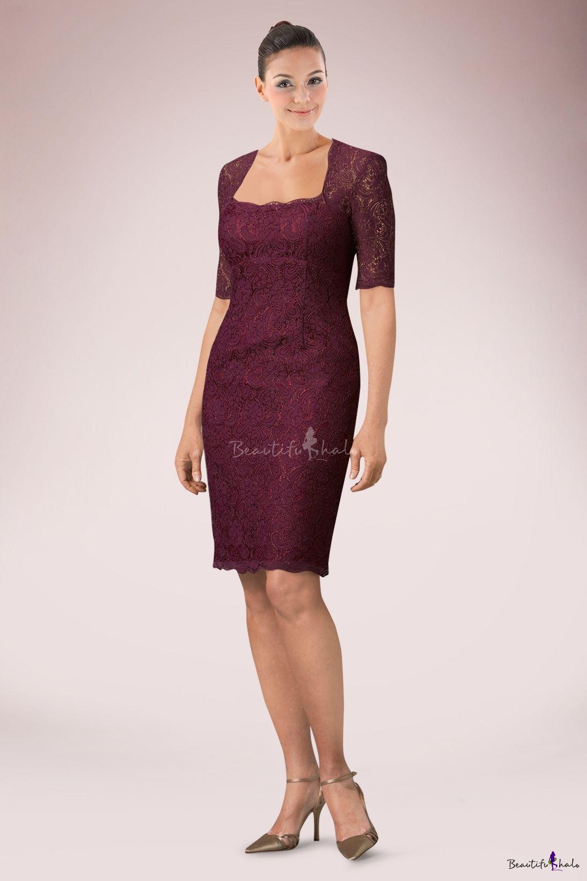 Imposing burgundy kneelength sheath lace mother of bride dress