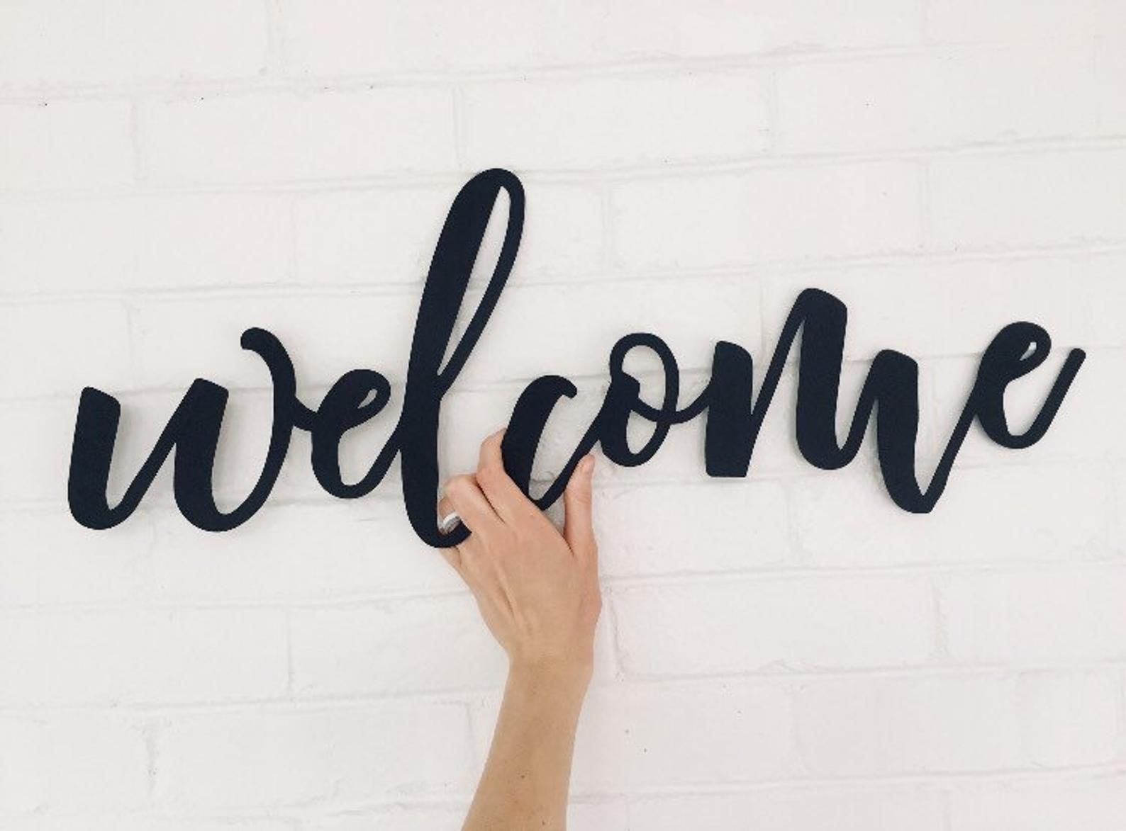 Metal Welcome Sign Steel Welcome Sign Large Welcome Sign Etsy Metal Welcome Sign Welcome Sign Bar Wall Decor