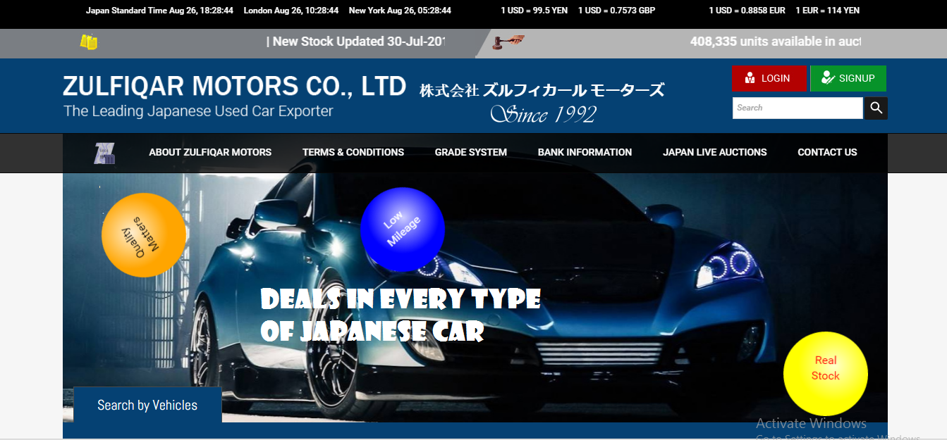 Japanese Used Cars Exporter Auction Services Zulfiqar Motors