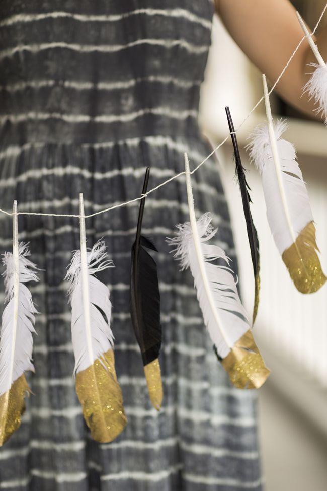DIY Glitter and Feather Garland - Coastal BrideCoastal Bride