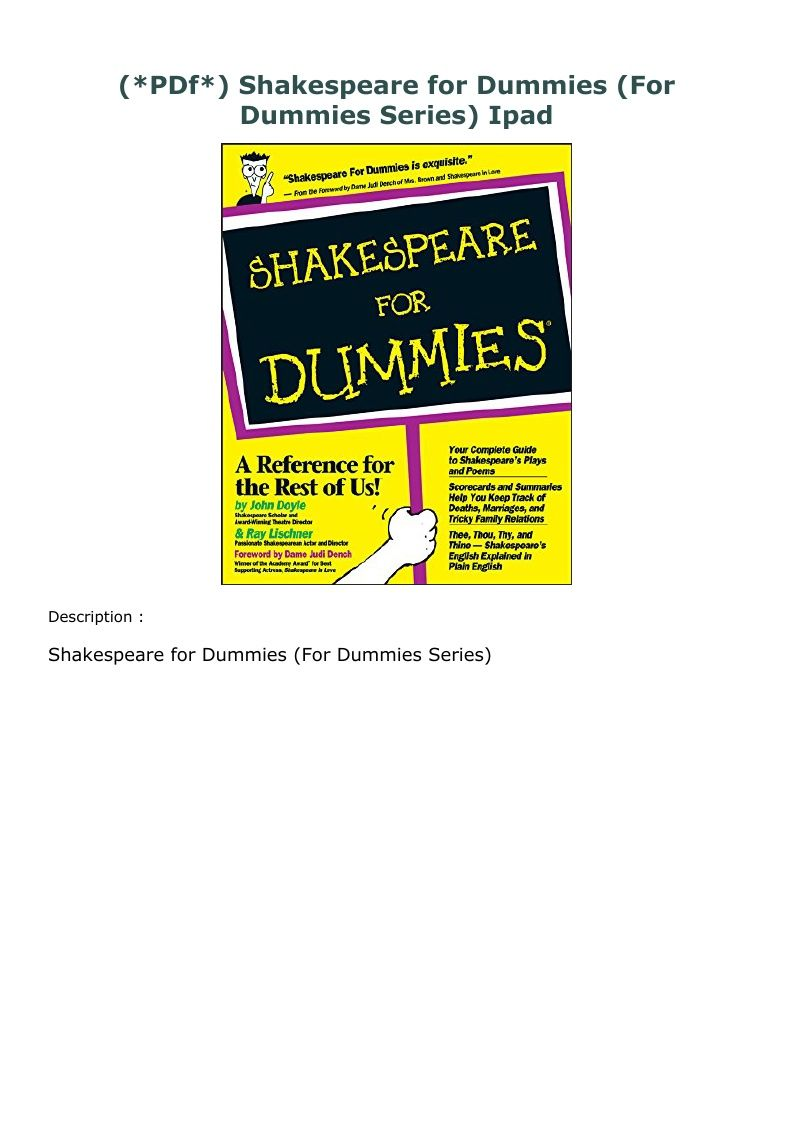 Pdf Shakespeare For Dummies For Dummies Series Ipad Shakespeare Words Idioms And Phrases Shakespeare Plays