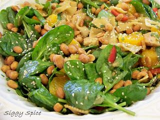 The Country Cook: Bowtie Chicken Teriyaki Spinach Salad ~ Siggy Spice
