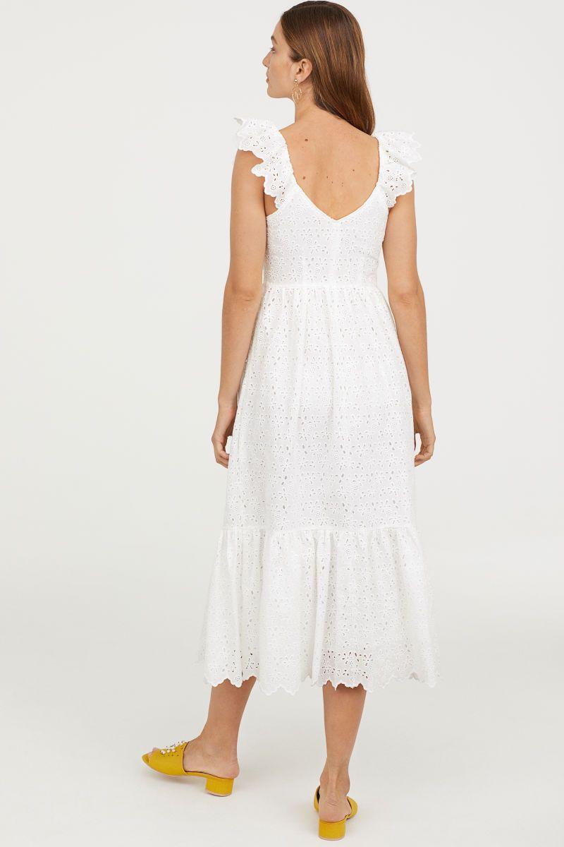 Besticktes Kleid  Weiß  DAMEN  H&M DE  Bestickte kleider