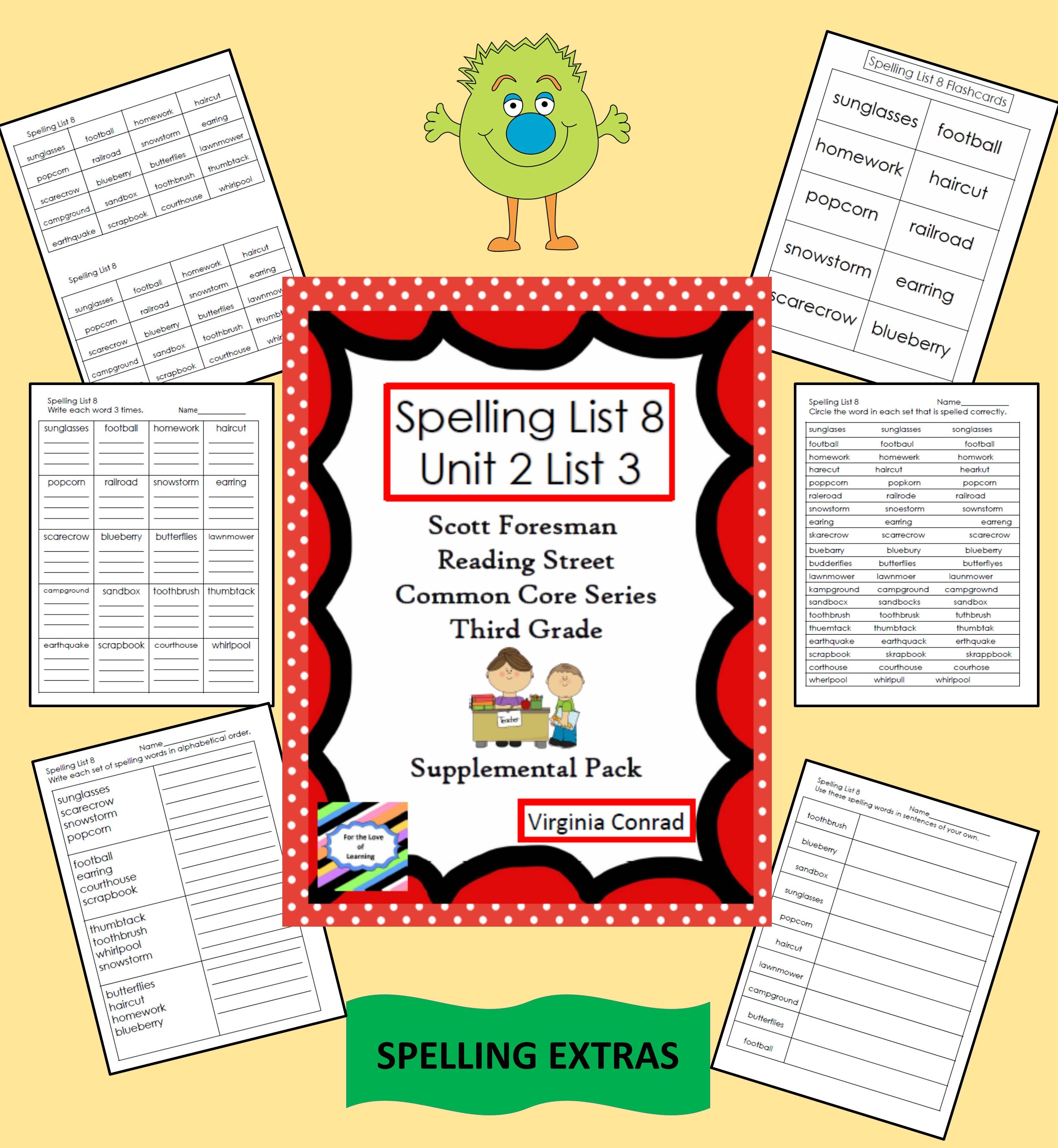 Supplemental Materials For Spelling List 8 Unit 2 List 2