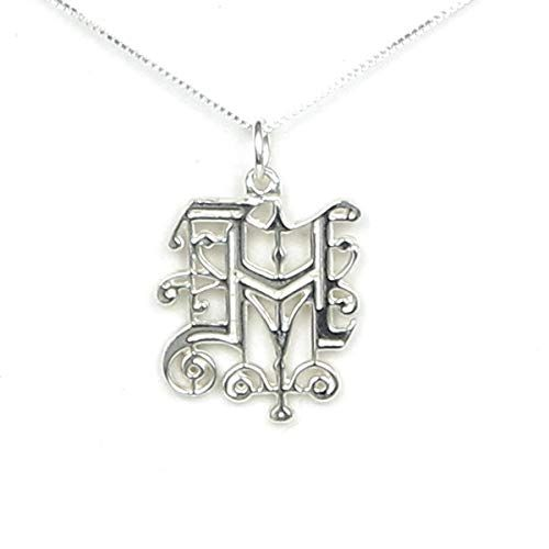 Initial Letter H Solid Sterling Silver Monogram Necklace