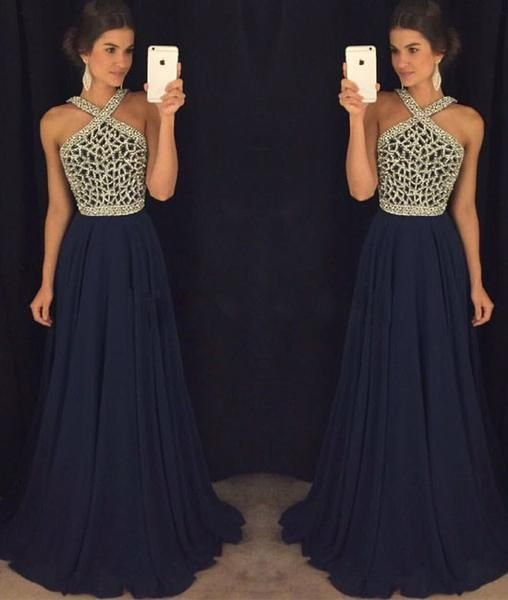 Dark blue beaded long prom dress for teens a07a5373b4f6
