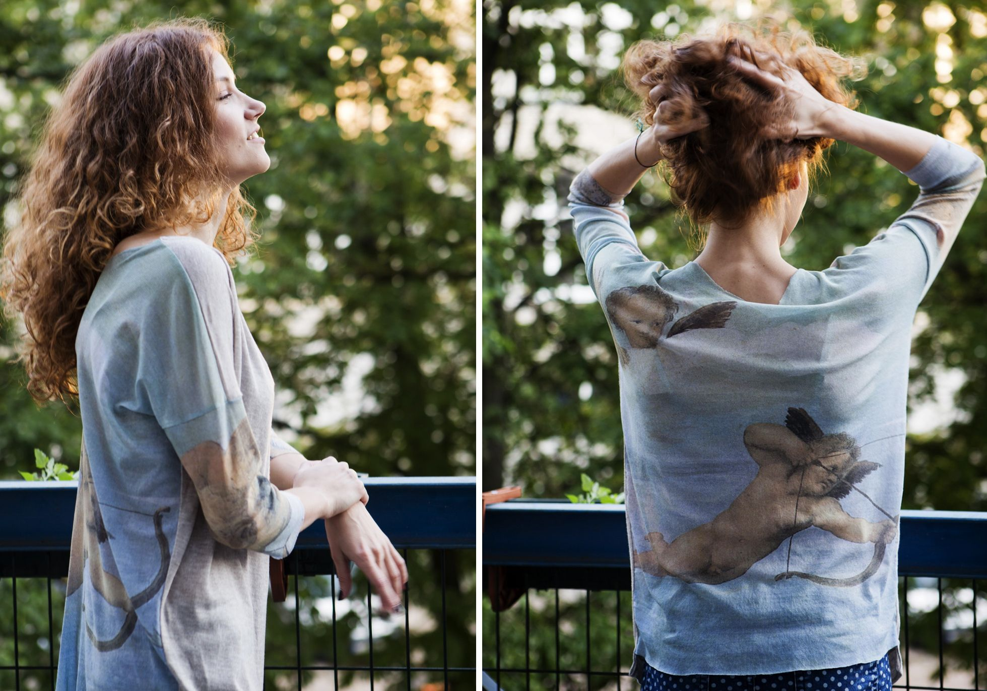 loose silhouette blouse viscose, synthetic. Graphic, painting, tattoo