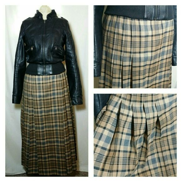 Vintage Pendleton Wool Plaid Pleated Midi Skirt I hate to see this go, but I need to purge. Such an awesome punk skirt I wore with black tall combat boots and my faux leather jacket as seen in pics. The pleats start about hip length and continue down the skirt for a full swing effect. Like new condition. Vintage Skirts Midi