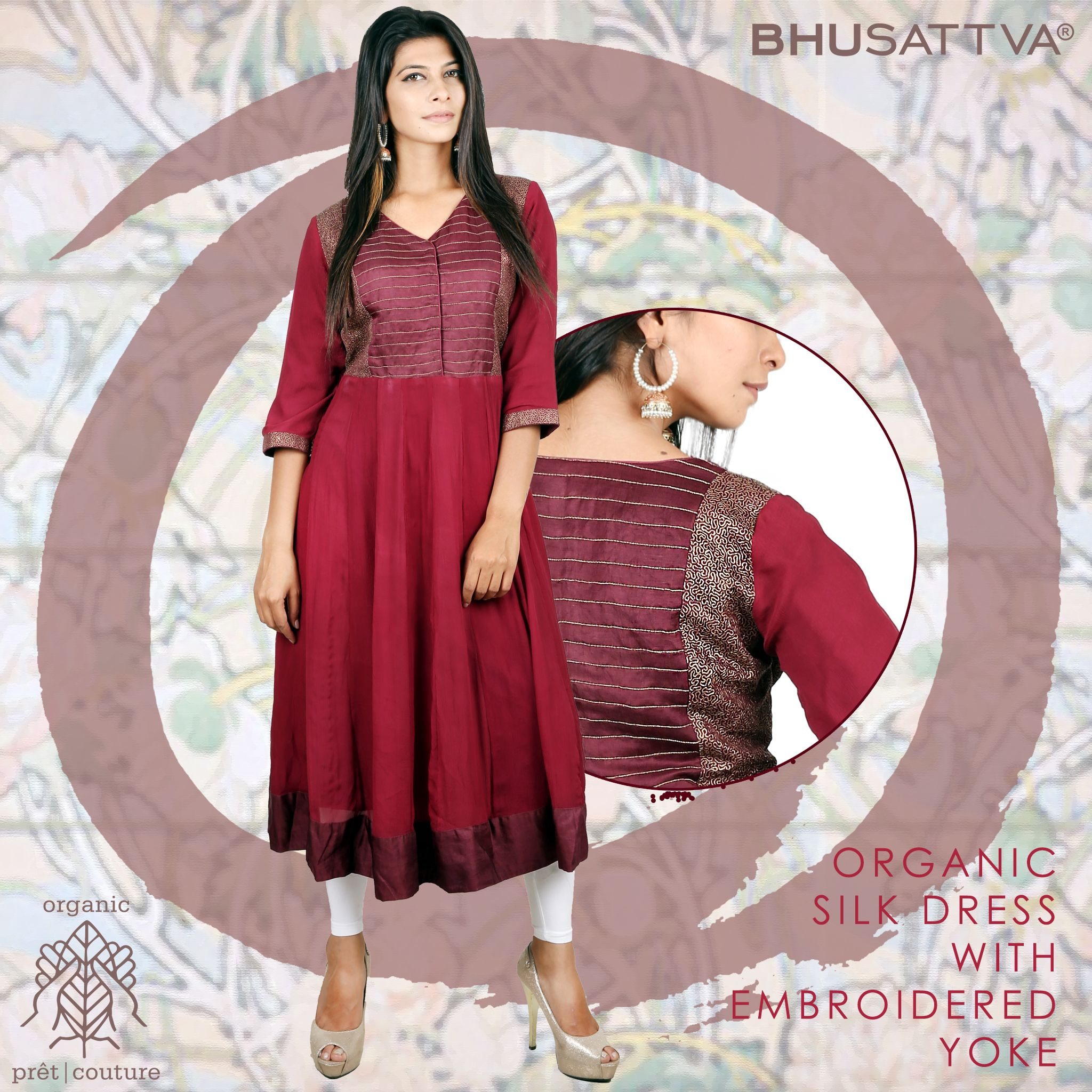 Real organic silk is a material that most closely resembles human skin.. Experience skin friendly fabrics with Bhu:Sattva.  #Bhusattva #Organic #Pret #Couture #Dress #Silk #AhimsaSilk #HandEmbroidered #SkinFriendly #BreatheEasy #ReflectOrganic #RevealYourself #iWearBhusattva #BelieveWhatYouWear #TrustNature #MysticalNature #CloseToNature #OrganicIdeology #OrganicCollection #NaturalDyes #EcoFashion #OrganicFashion #SustainableFashion #GoOrganic #WearOrganic #DesignerLabel #DesignerWear