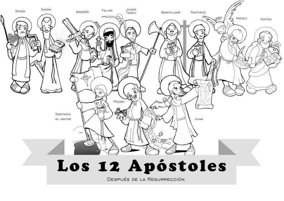 Los 12 Apostoles Con San Matias Para Pintar Catequesis