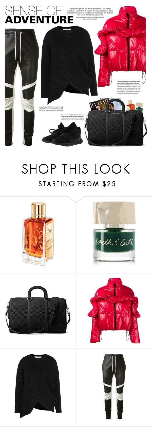 """How to Style a Red Puffer Jacket with Black Leather Pants"" by outfitsfortravel ❤ liked on Polyvore featuring Smith & Cult, MICHAEL Michael Kors, MSGM, STELLA McCARTNEY, Balmain and adidas"