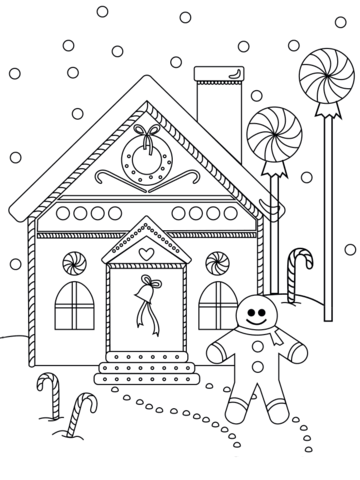 Gingerbread Man Near The House Coloring Page Christmas Coloring Pages House Colouring Pages Santa Coloring Pages