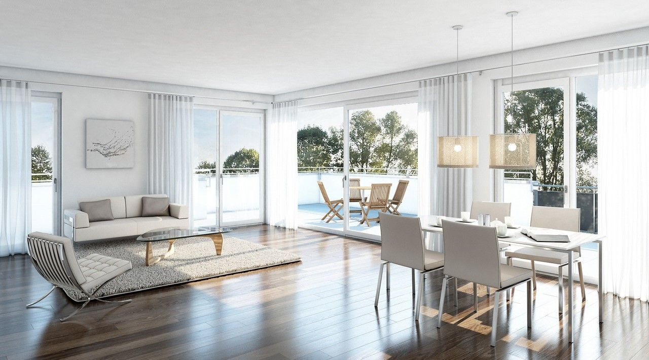 3D-Innenraumvisualisierung, Penthouse, Wohn-Essbereich ...