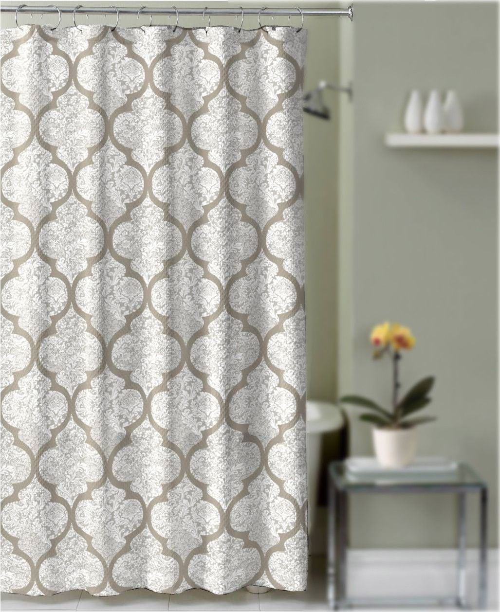 Crest Home Billingham Shower Curtain Taupe And Gray Quatrefoil