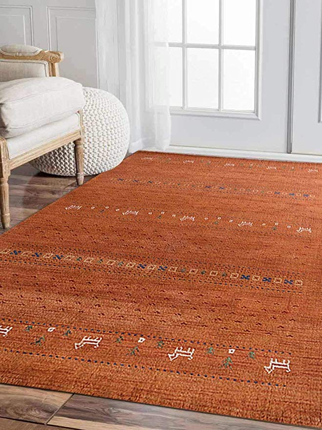 Amazon Com Rugsotic Carpets Hand Knotted Gabbeh Wool 5 X 8 Area Rug Contemporary Orange L00585 Kitchen D Area Rugs Contemporary Area Rugs Orange Area Rug