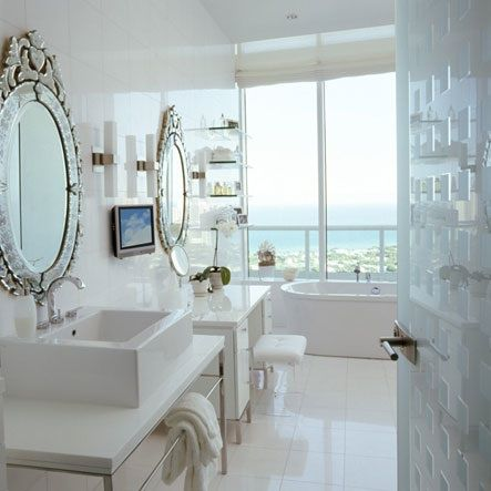 Stunning White Bathroom With Venetian Mirrors Luxe Living