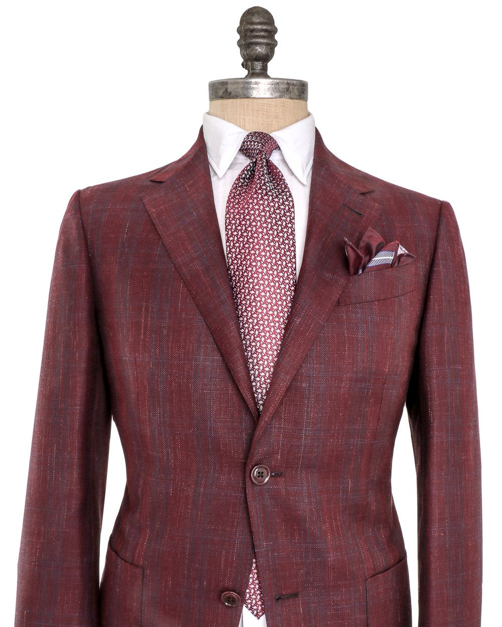 Wine With Blue Windowpane Sportcoat Suit Fashion Sportcoat Fashion