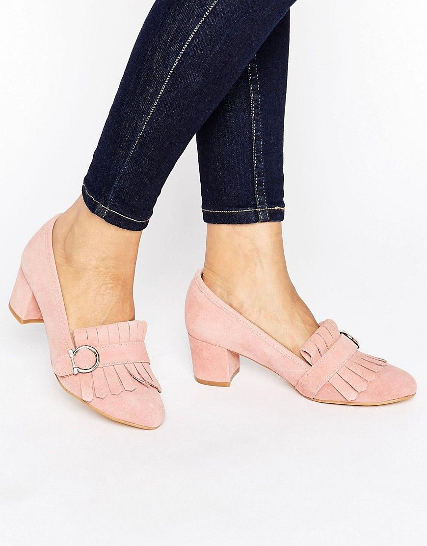 Image 1 of Park Lane Suede Fringe Kitten heel Loafer | shoe 2 ...