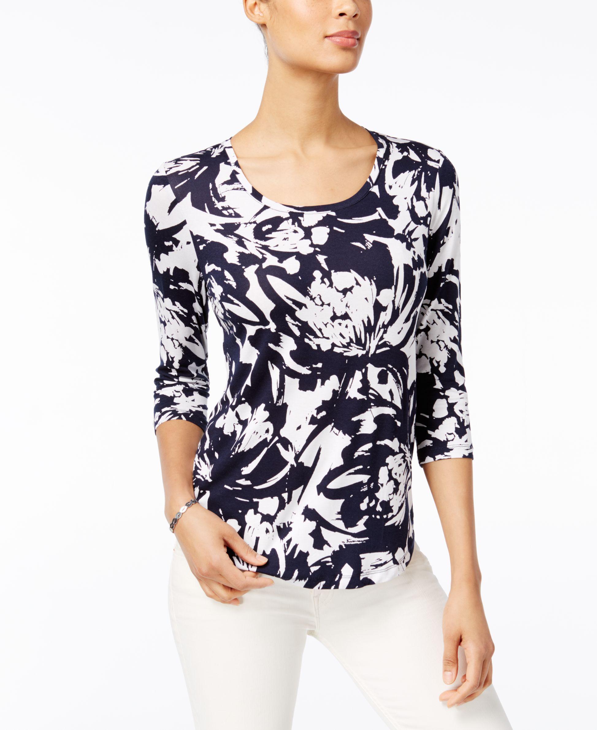 0fbe438b3548d Jm Collection Petite Floral-Print Shirttail Top