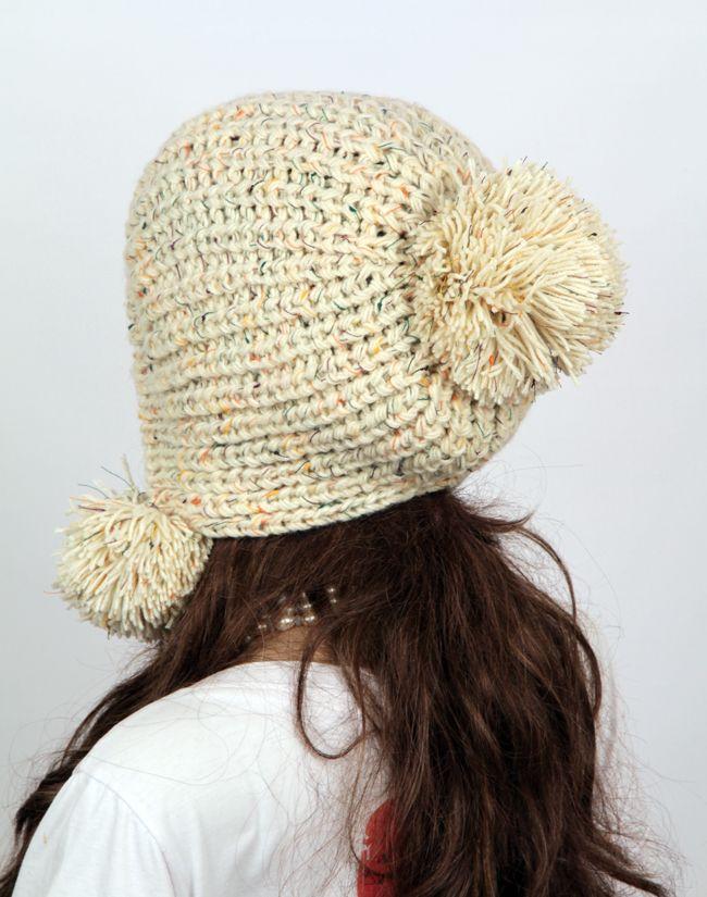 Mujer mano Slouchy sombrero hecho punto casquillo de la ropa ...