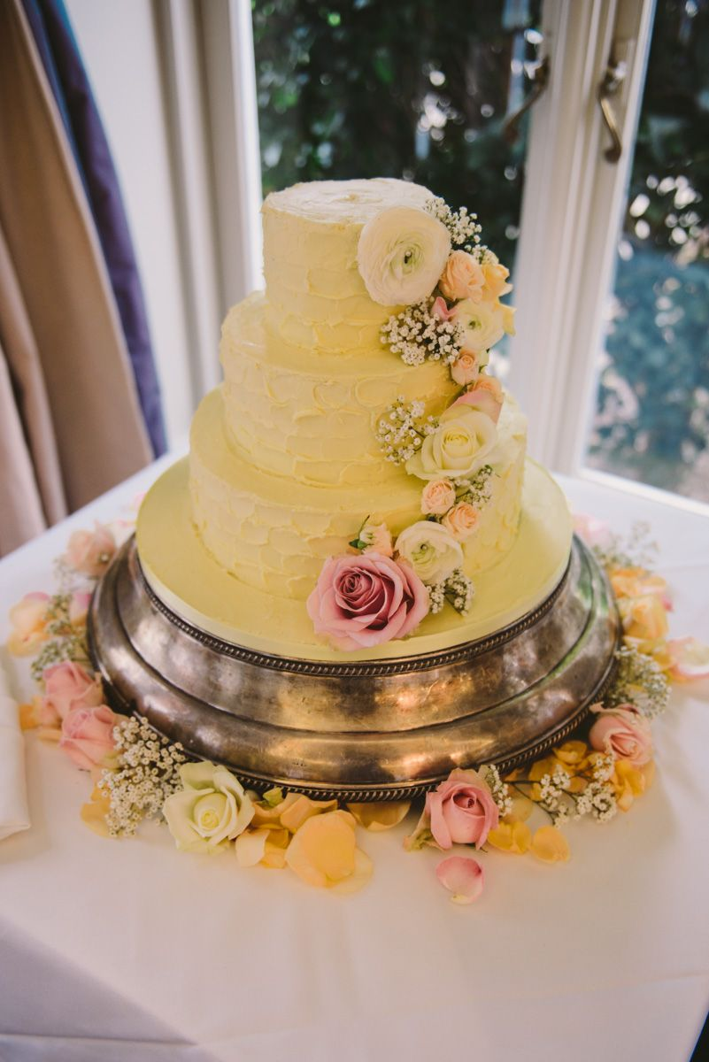 3 Tier Cake Frosted With Textured White Chocolate Ganache And