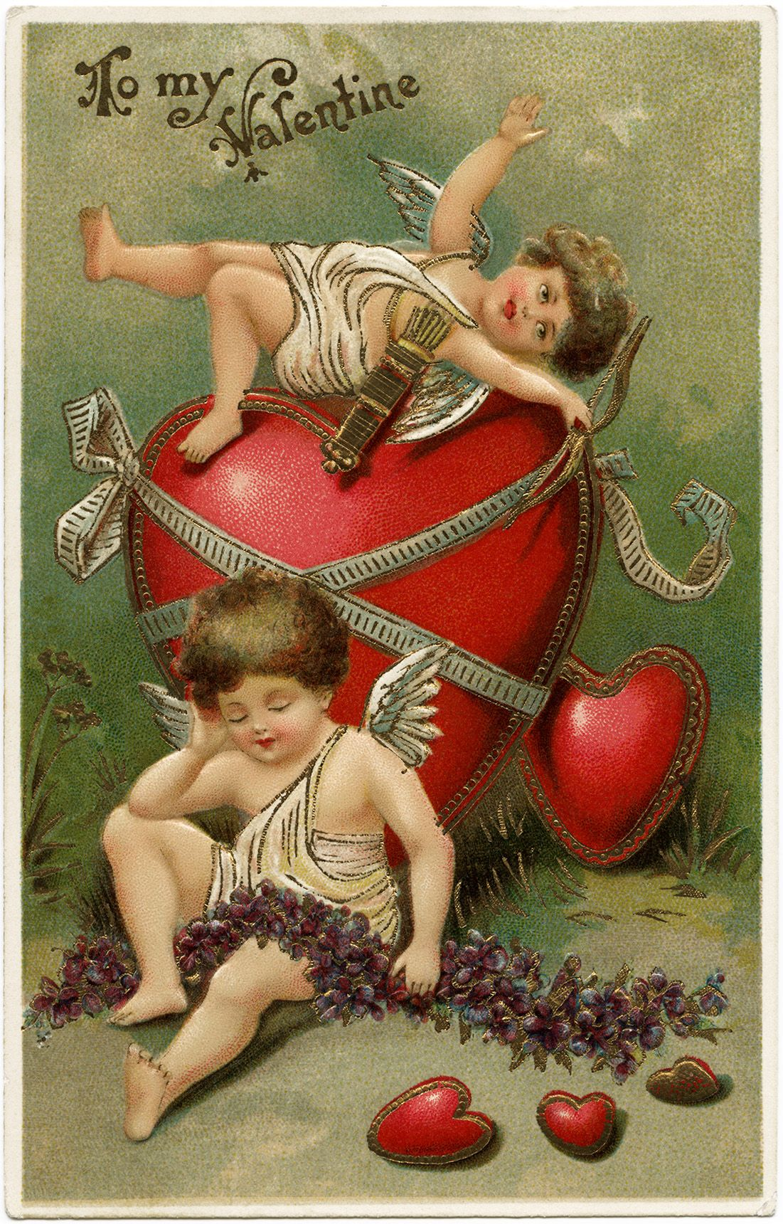 vintage valentine postcard cherubs and hearts clip art old – Old Valentines Day Cards
