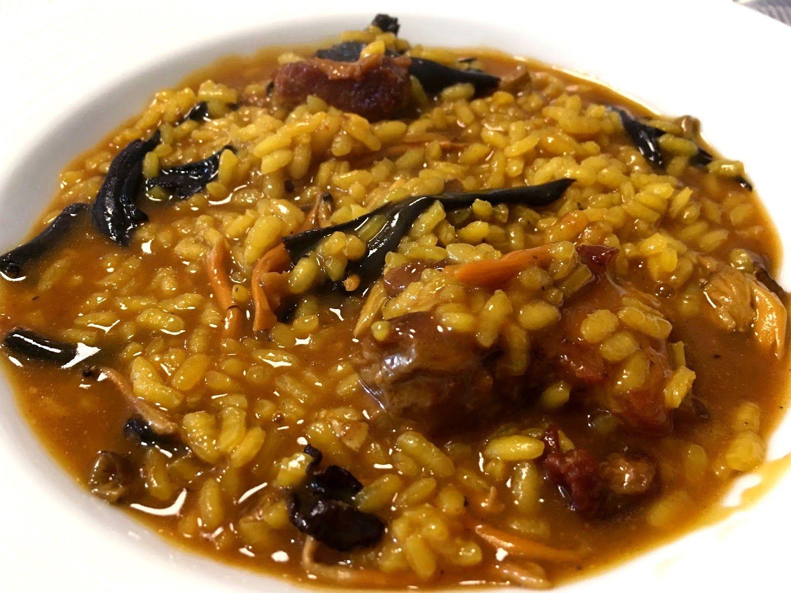 receta arroz caldoso con pollo y setas