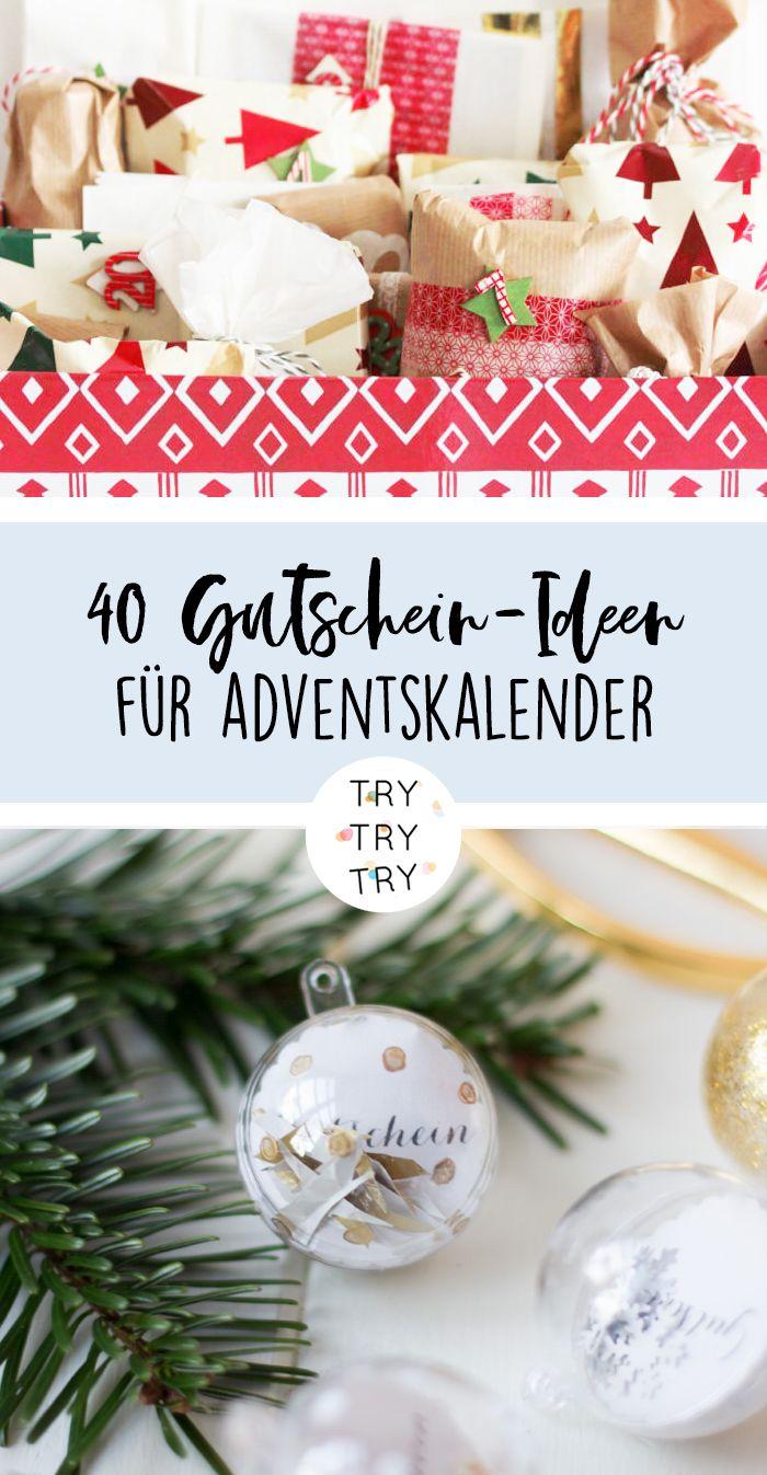 40 Gutschein-Ideen für die Adventskalender-Füllung // Adventskalender füllen // DIY Adventskalender #adventkalenderbasteln