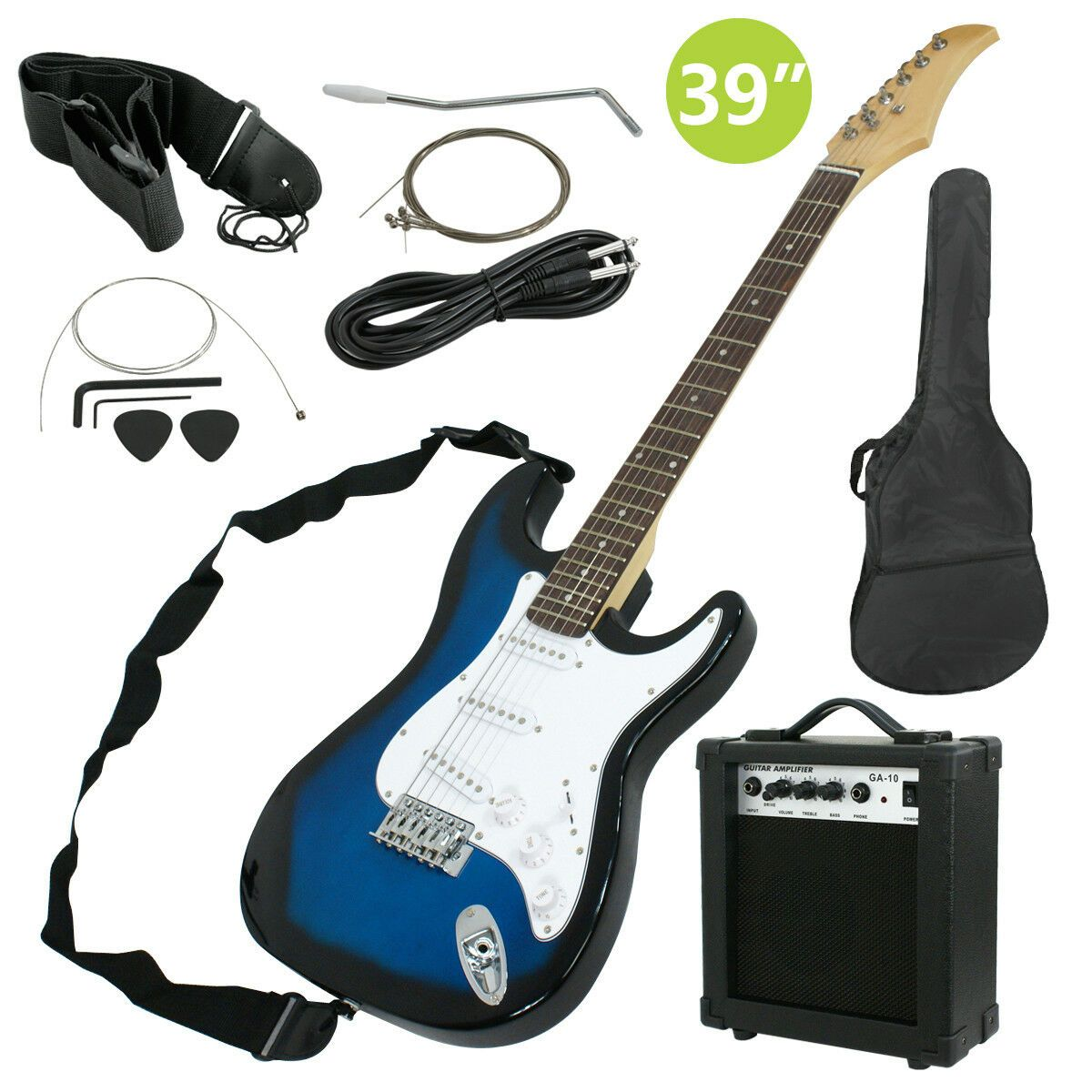 Full Size Blue Electric Guitar With Amp Case And Accessories Pack Beginner Electric Guitar And Amp Blue Electric Guitar Electric Guitar
