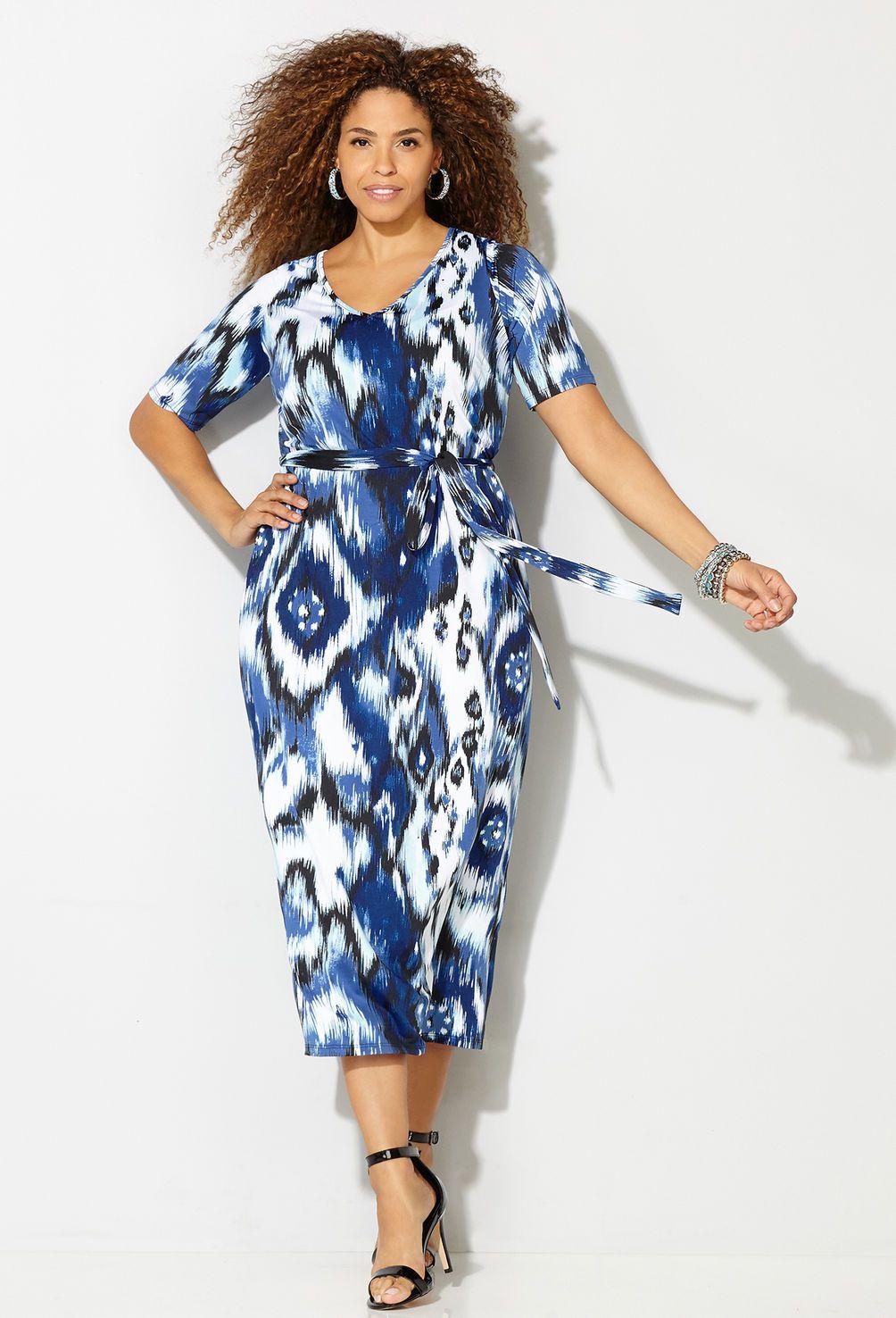 Shop interesting patterned midi dresses like our plus size Tribal Maxi Dress…