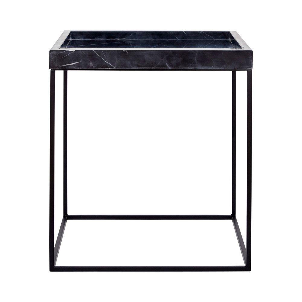 Modern Designer Black Marble Tray Side Table- Black Steel Base End ...