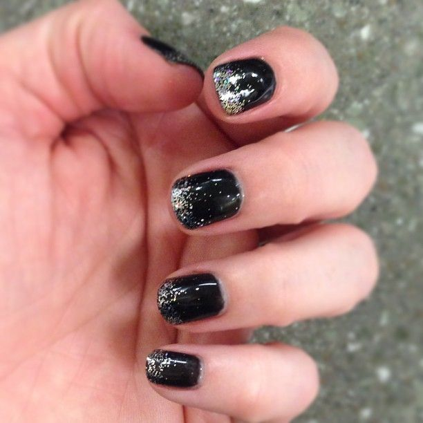 cnd black pool shellac with silver glitter polish by heather at the castle spa
