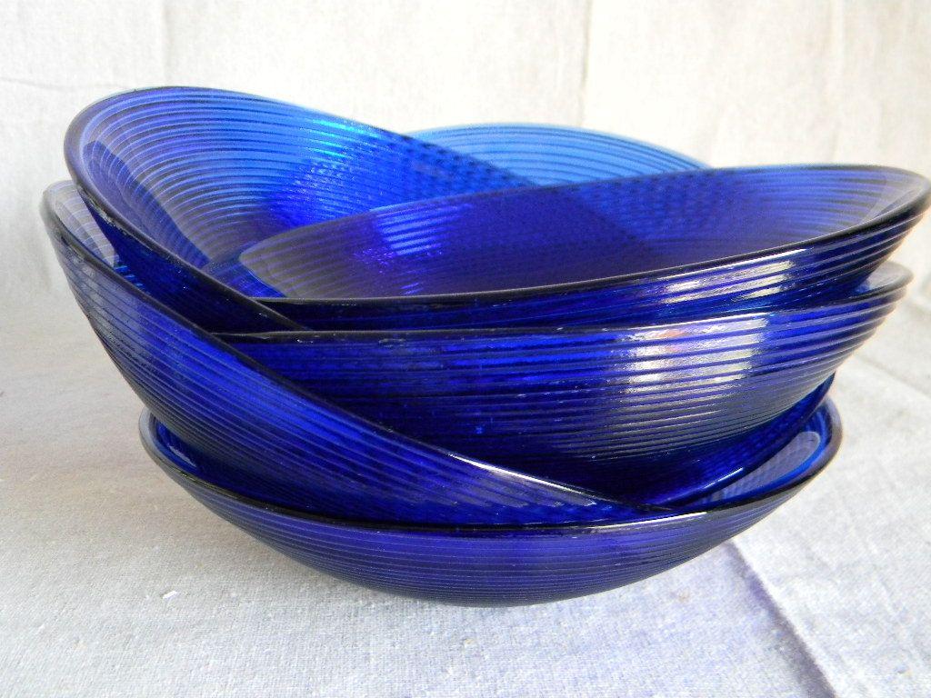 Vintage Mid Century Cobalt Blue Glass Bowls Spain 38 00 Via