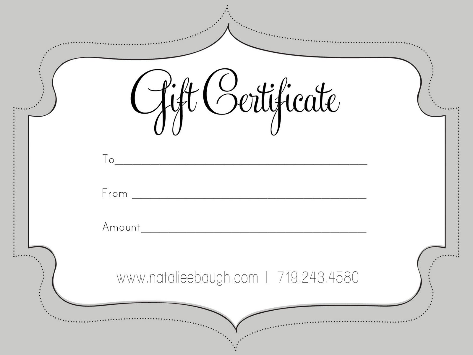 A cute looking gift certificate free gift certificate
