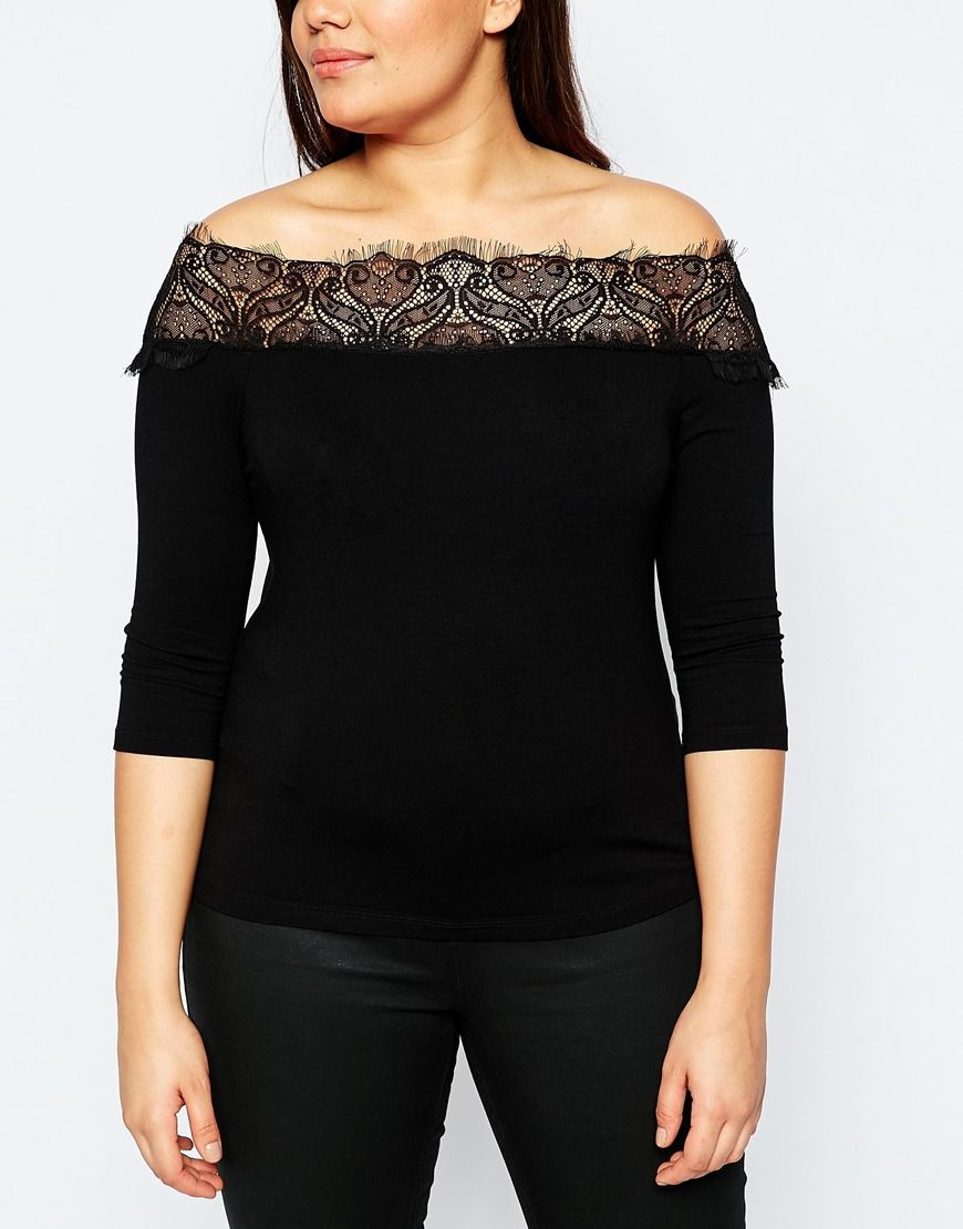 3b6d779b194a7 Image 3 of ASOS CURVE Long Sleeve Bardot Top With Lace