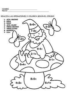 Resultado De Imagen Para Dibujos Con Sumas Y Restas Math Activities Preschool Math Coloring Barbie Coloring Pages