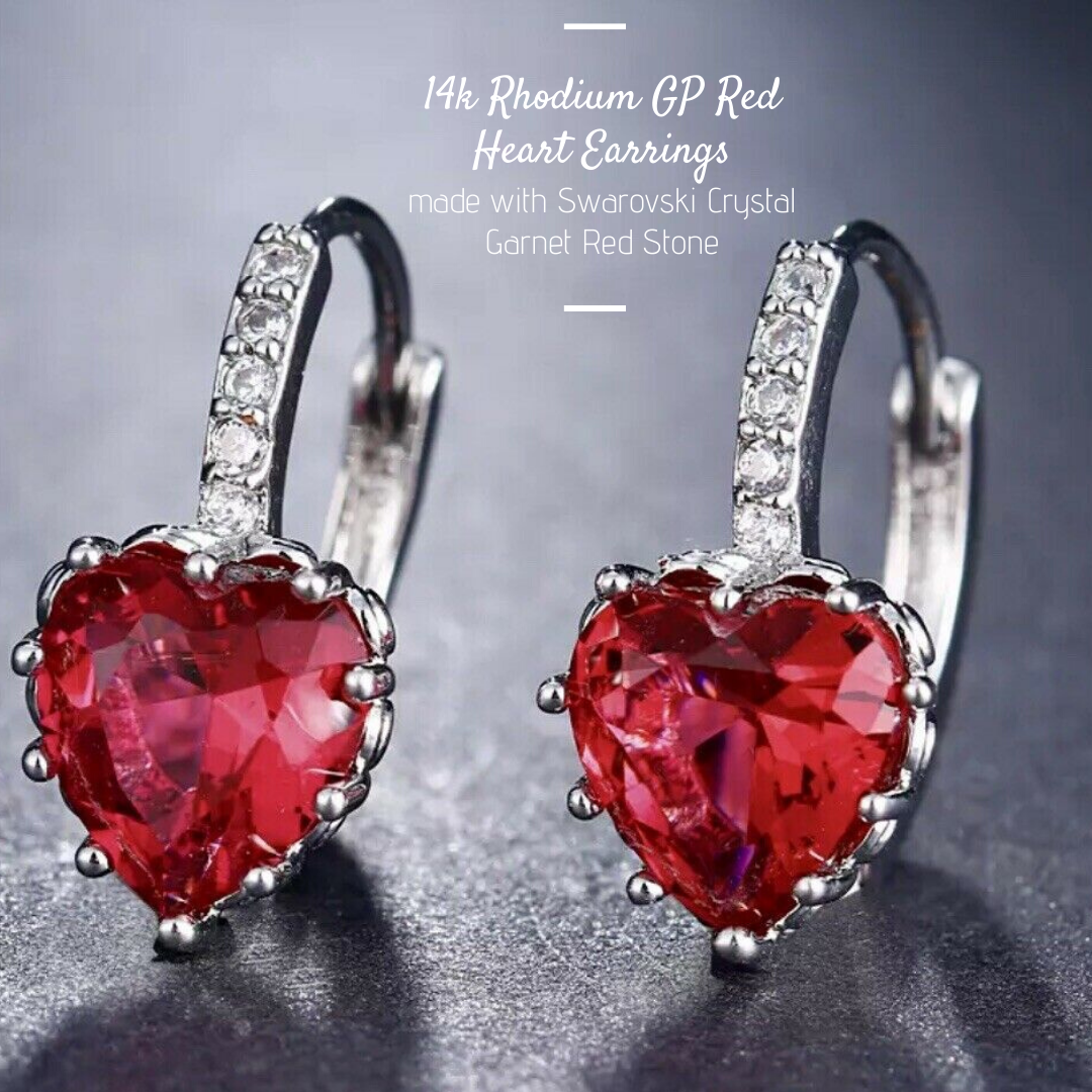 18K YELLOW GOLD GF MADE WITH SWAROVSKI CRYSTAL LOVE HEART EARRINGS NECKLACE SET