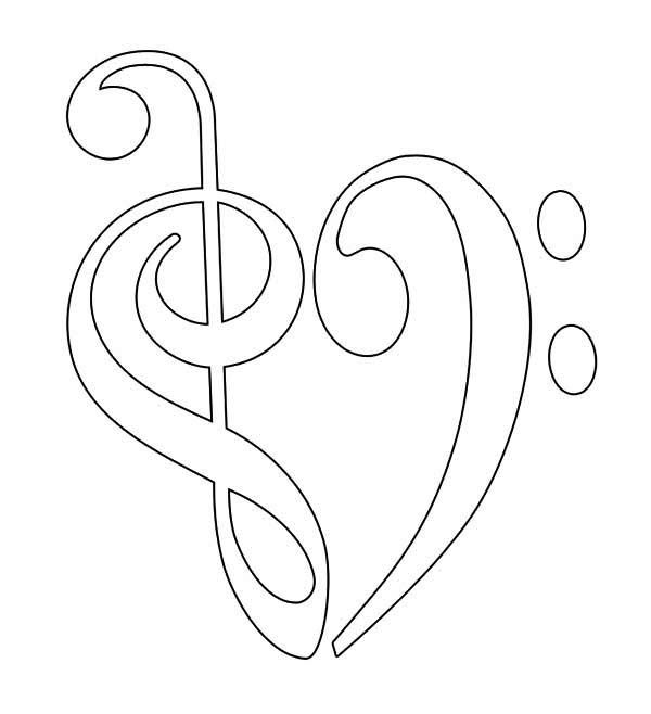 Treble Clef And Bass Forming Heart Coloring Page Heart Coloring