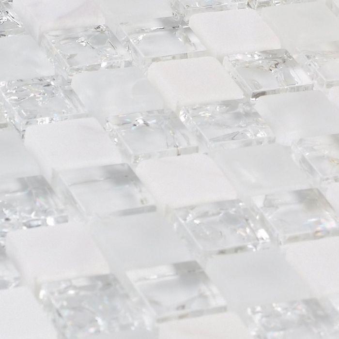 White Stone Mixed Ice Crackle Clear Glass Mosaic Bathroom Mosaic