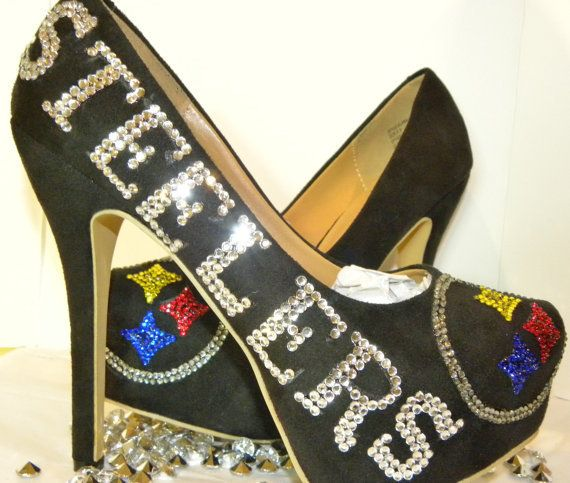 9e1a9c5f830 Pittsburgh Steelers Rhinestone Decorated Black Stiletto High Heeled Women s  Shoes