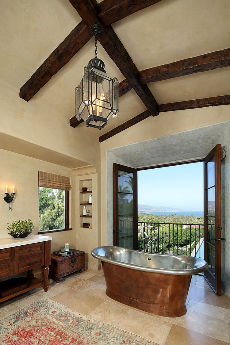 Mediterranean style bathroom in LA with a smart Juliet balcony [Design:  Evens Architects]