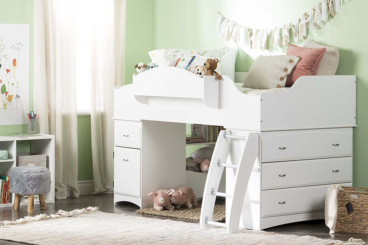 Imagine Collection Twin Loft Bed with Storage Pure White