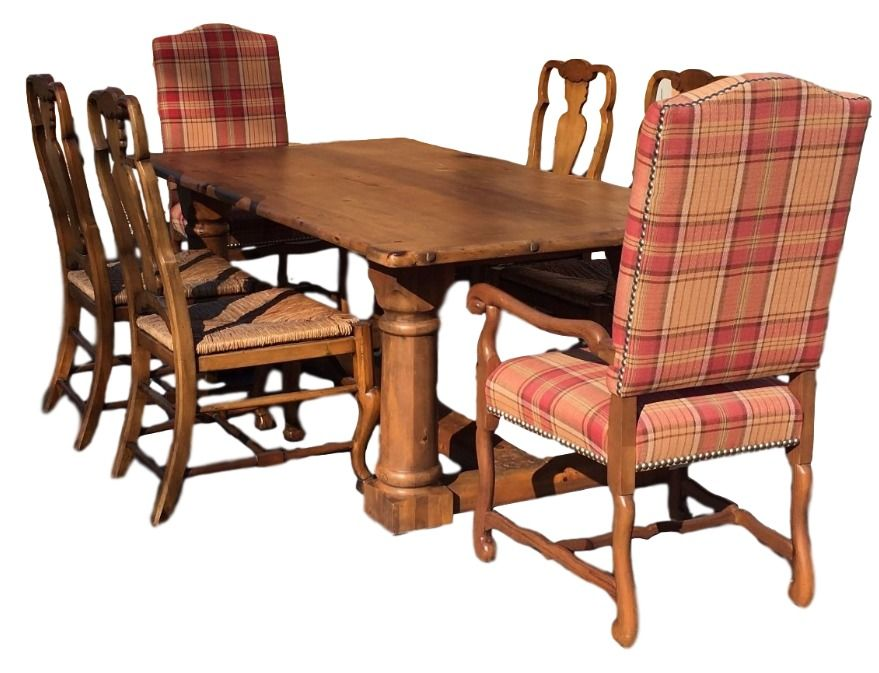 Ralph Lauren Polo 7u0027 Pine Danby Dining Table With 6 Chairs Aran Isles  Henredon #RalphLauren