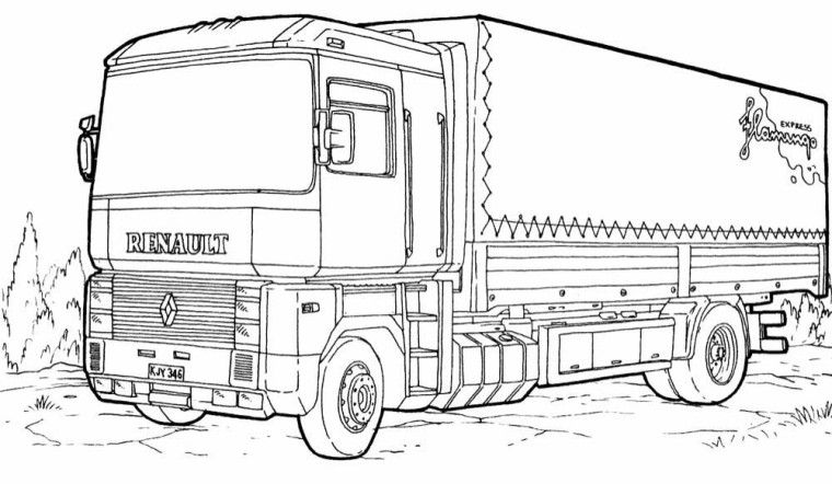Mercedes Semi Truck Coloring Pages | Colorir veículos | Pinterest ...