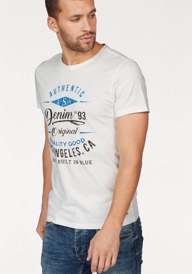 Blend T-Shirt, mit Logo-Print für 9,99€. Mit Markenlabel am Saum, Aus reiner Baumwolle, Slim-fit/ schmale Form, Großer Frontdruck vorne bei OTTO
